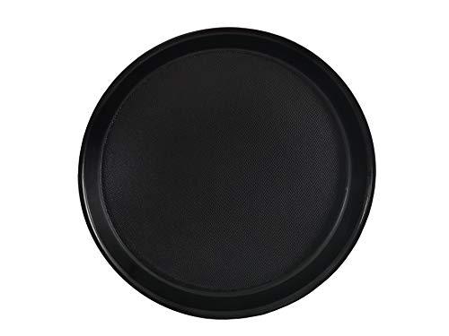 Staab's Bandeja redonda con borde alto y superficie antideslizante, bandeja para camarero, bandeja para servir, soporte para vasos de cerveza, bandeja para vasos, color negro