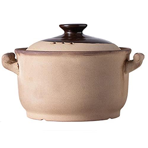 Pentola in terracotta per stufato di zuppa e stufato pentola per stufato a gas, casseruola non smaltata in argilla vecchio stile, grande capacità domestico-4L