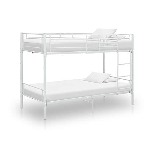 vidaXL Etagenbett Kinderbett Hochbett Metallbett Bett Stockbett Bettgestell Doppelstockbett Schlafzimmer Kinderzimmer Weiß Metall 90x200cm
