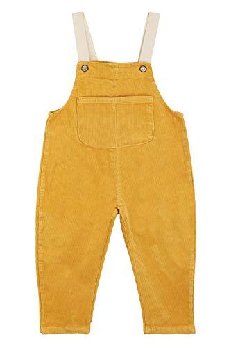 Camilife Baby Kleinkind Jungen Mädchen Kordsamt Latzhose Overall Kord-Latzhose Cordhose Haremshose für Baby Kinder 1-4 Jahres alt Vintage Retro - Gelb Größe 90
