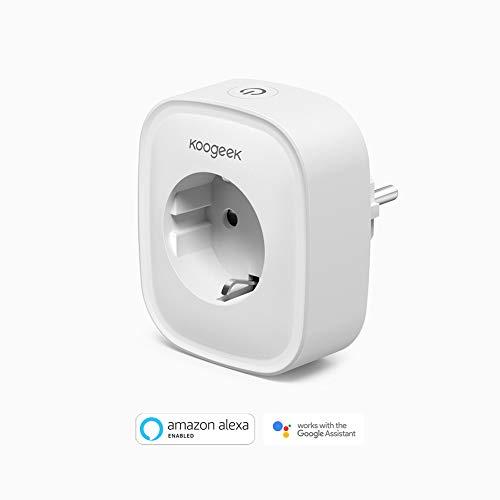 Enchufe Inteligente WiFi, Koogeek Smart Plug, Compatible con Alexa/Google Home, Control Remoto de Voz, Temporizador Monitoreo de Energía, No requiere concentrador IOS y Andriod 2.4Ghz WIFI (1 Pack)