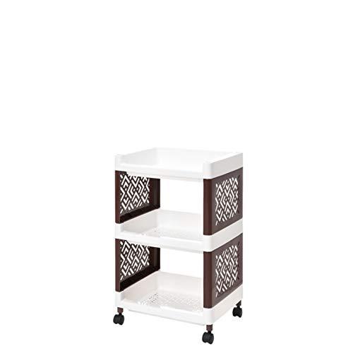 YuanSu Haushaltsgemüse Storage Rack Multi-Layer-Speicher Removable Storage Schrankgestell Geeignet for Küche Wohnzimmer Und Badezimmer Badrollwagen (Color : Three Floors(A), Size : Khaki)