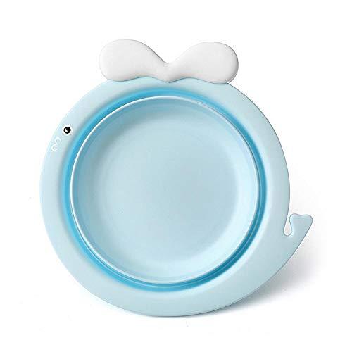 OHHCO Cuenca Plegable Espesar Lindo Portable del Lavabo del bebé recién Nacido niños Bañera Cara del pie Cabeza de Viaje Lavabo Pies bebé Boca del baño Verde Cesto de Ropa (Color : Blue)