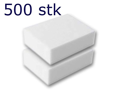 500 Stück Reinigungsschwamm, Radierschwamm, Schmutzradierer, Wunderschwamm je 10x7x3 cm WEISS