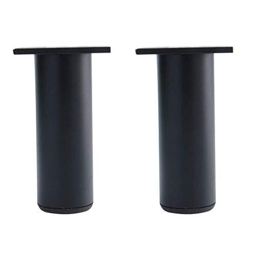YeVhear 5 pulgadas redondas de muebles de piernas de aleación de aluminio para sofá, mesa armario, encimera, estantería, patas de repuesto, ajuste de altura, color negro