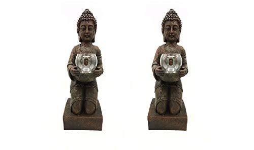 MF-Fairfactory Juego de 2portavelas de Figura Buda XL-Portavelas doméstica + Jardín-Estatua Decorativa