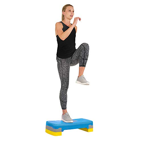 Sunny Health & Fitness Exercise Step Platform, Workout Step, Fitness Stepper, Aerobic Step with Risers - NO. 039