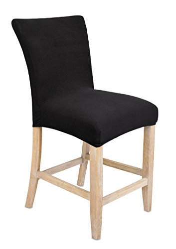 Internet's Best Dining Room Chair Cover - Set of 4 - Stretch Slipover Chair Protectors - Elastic Covers - Black