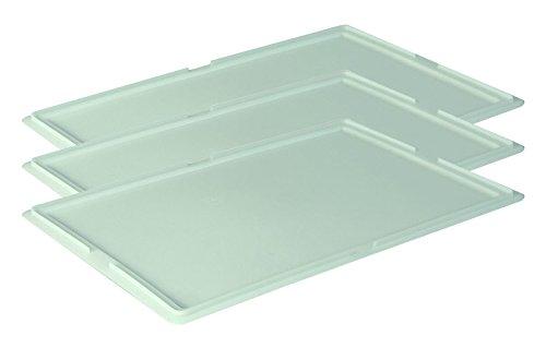 Gastlando 3 STK. Deckel Pizzaballenbehälter Teigbehälter Stapelbox Teigbox 60x40cm