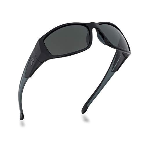 sport sunglasses for men & women, polarized glass lens wrap style...