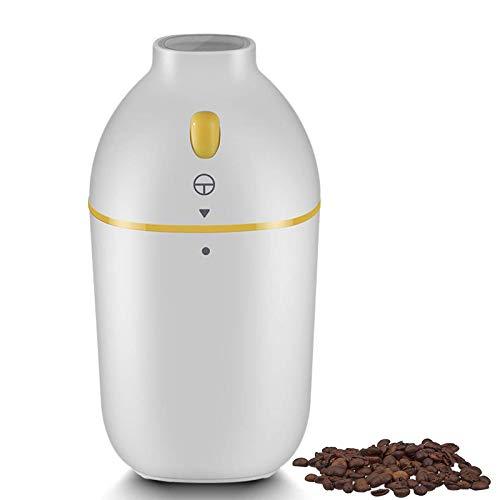Molinillo de café eléctrico Molino de granos Fresadora automática portátil con cuchillas de acero INOXIDABLE, Potente molinillo de 150 W para granos de café, especias, cacahuetes, granos y más, blanco