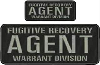 Fugitive Recovery Agent Warrant Division EMB PAT 4X10&2X5 Hook ON Back BLK/Gray by HighQ Store