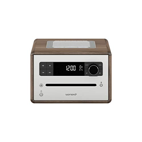 Sonoro CD 2 Radio-wekker (FM/DAB/DAB+, CD-speler, AUX-in, Bluetooth, meditatie) walnoot - Design digitale radio