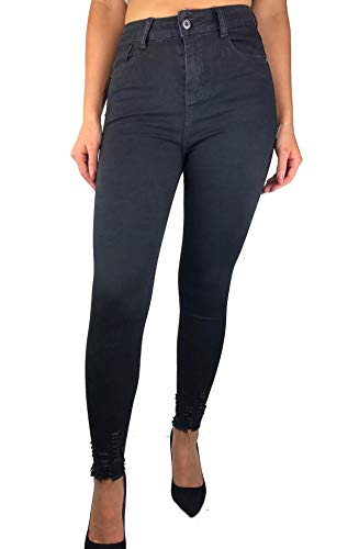 Worldclassca Damen Skinny Jeans HIGH Waist RÖHRENJEANS Denim DAMENJEANS Hose Stretch Blogger Fashion Freizeithose Damenhose Party Hose MIT Tasche Used Look XS-XL (S (36), Schwarz-Black)
