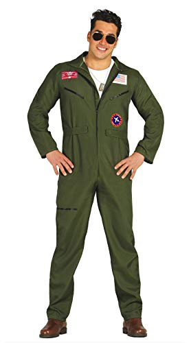 Fiestas Guirca 80803 Combinaison d'aviateur de type Top Gun, pour adultes, vert, taille L
