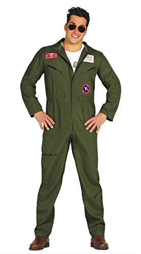 Fiestas Guirca-80803 Kostüm Top Gun Jumpsuit Pilotenkämpfer für Erwachsene, Grün, L, 80803.0
