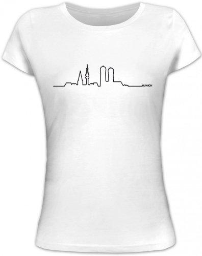 Shirtstreet24, Skyline Munich, München Oktoberfest Wiesn Lady/Girlie T-Shirt Fun Shirt Funshirt, Größe: S,weiß