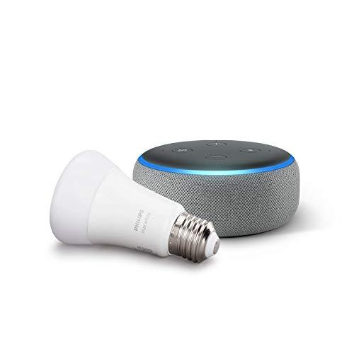 Echo Dot (3.ª generación), tela de color gris oscuro + Bombilla inteligente LED Philips Hue White, compatible con Bluetooth y Zigbee, no se requiere controlador