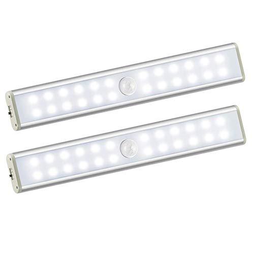 Flytootop LEDセンサーライト 人感センサー 室内 24 LED 高輝度 センサーライト 階段ライト クローゼットライト USB充電式 配線不要 取付簡単 クローゼット/キッチン/玄関/階段/寝室/本棚 屋内照明などの場所に適用 2個セット