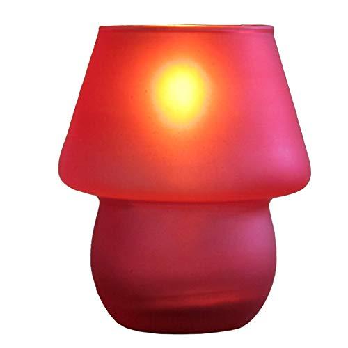 LAVABIS 1 Stück Hongkong Tischlampe, roter Glaszylinder, rund inkl. nachfüllbare Flüssigwachskerze