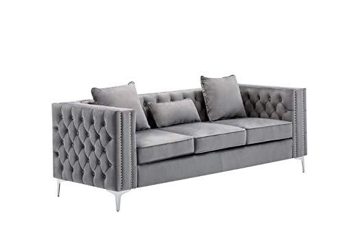Lilola Home LILOLA Lorreto Velvet Sofa Gray