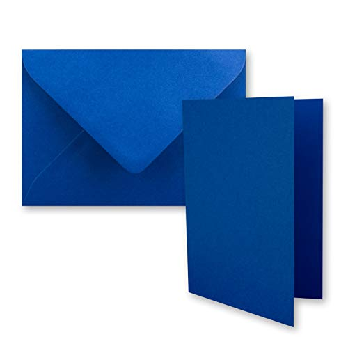 Juego de 50 tarjetas plegables DIN A7 en 10,5 x 7,4 cm, con sobres DIN C7 en azul real (azul) – pequeñas tarjetas dobles en blanco para diseñar e imprimir