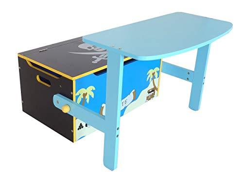 Bebe Style PRF1CTB-Blue Verwandelbare Spielzeugkiste + Tischbank + Stuhl - Holzkiste Aufbewahrung, blau - 5