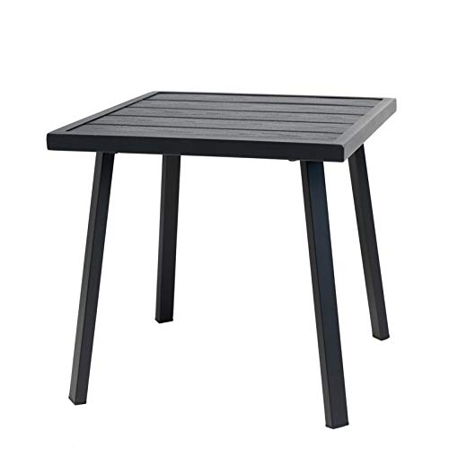 C-Hopetree Small Metal Outdoor Coffee Side Table for Outside Patio, Square, Black