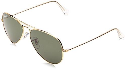 Ray-Ban RB3025 Classic Aviator Sunglasses, Matte Gold/Green/Blue Mirror, 58 mm