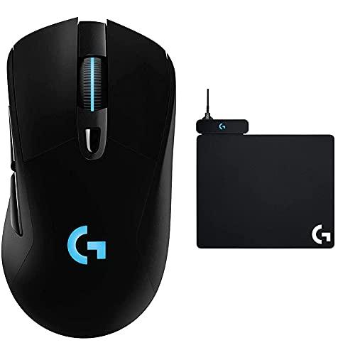 Logitech G703 Lightspeed, Souris Gaming sans Fil avec capteur Hero 16K + Powerplay Tapis de Souris Gaming avec Système de Charge sans Fil