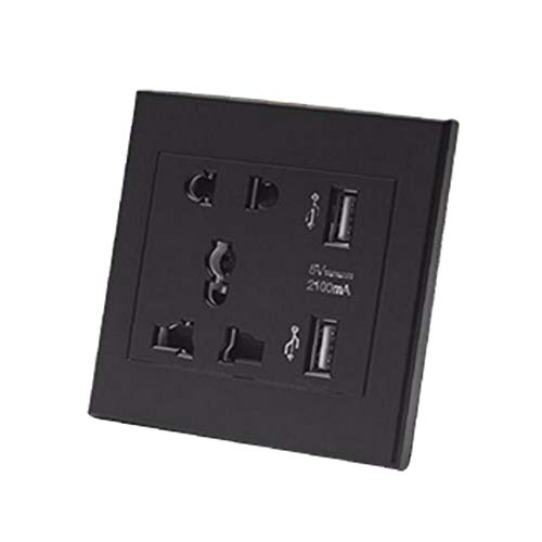 De Doble Puerto USB zócalo de Pared Práctica 5 Función Agujero Cuadrado Socket Multi Interruptor Principal del Panel de zócalo Profesional Panel de Inicio Negro Accesorio