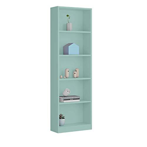 Habitdesign Estantería Juvenil 6 baldas, Librería Vertical, Modelo I-Joy, Acabado en Color Verde Acqua, Medidas: 180 cm (Alto) x 52 cm (Ancho) x 25 cm (Fondo)