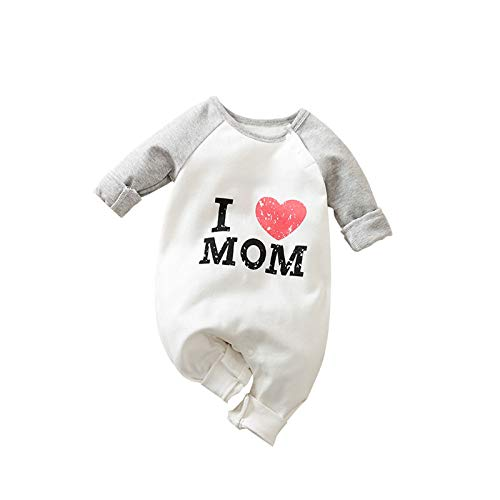 Mono de algodn de manga larga con texto en ingls 'I Love MoM I Love Dad recin nacido, nios y nias, de 0 a 12 m