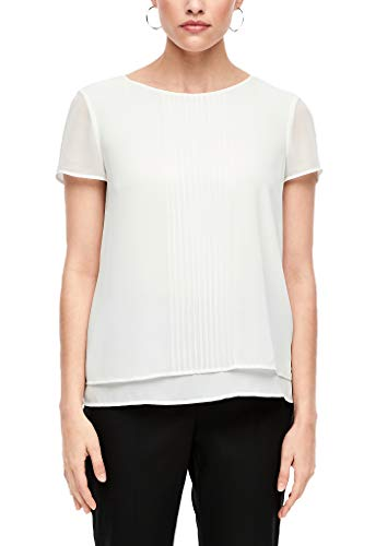 s.Oliver BLACK LABEL Damen Chiffon-Bluse im Layer-Look Cream 36