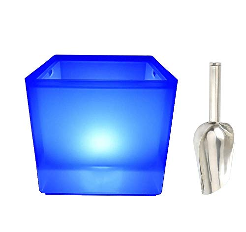 MO LIQIU eiseimer,LED leuchtender Kunststoff-Eiskübel. Mit Eisschaufel, idealer Eiskübel für Partys.Getränkekühler für Bier, Wein, Champagner, 3,5 l (19 * 18,5 cm)