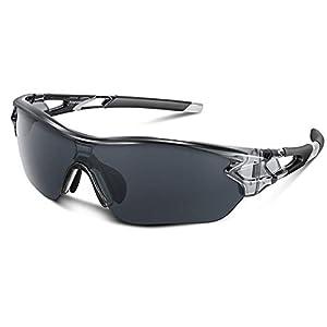 スポーツサングラス 偏光レンズ 自転車 登山 釣り 野球 ゴルフ ランニング ドライブ バイク テニス スキー 超軽量 UV400 TAC TR90 紫外線防止 メンズ レディース ユニセックス サングラス 安全 清晰 (グレー)