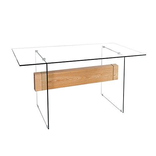 Invicta Interior Design Schreibtisch Onyx Glas Eiche furniert 160 cm Tisch Furnierholz Tisch Arbeitszimmer Bürotisch