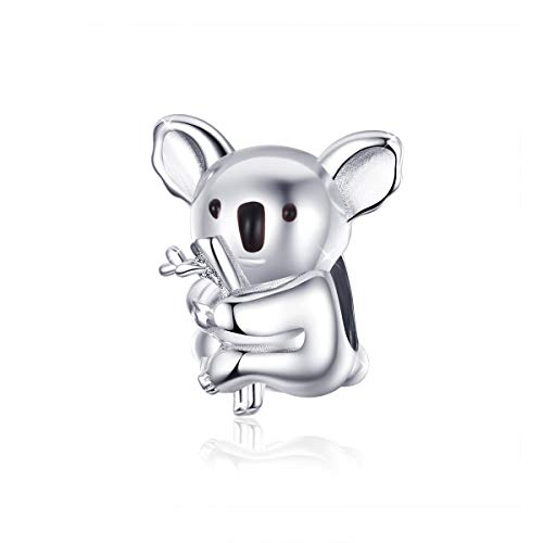Charm a forma di koala in argento Sterling 925, collezione Animal Zoo, compatibile con braccialetti e collane Pandora.