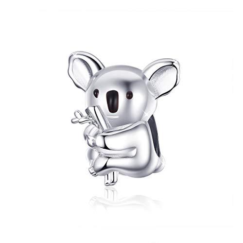 Koala Charms - Abalorio de plata de ley 925 con diseño de zoológico de animales, compatible con pulseras y collares Pandora