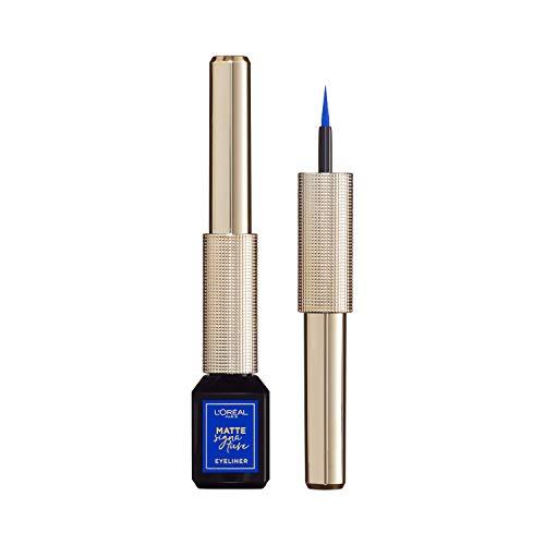 L'Oréal Paris Matte Signature Eyeliner 02 Blue, blauer Eyeliner mit Präzisionspinsel für einen präzisen Lidstrich, wisch- und wasserfest