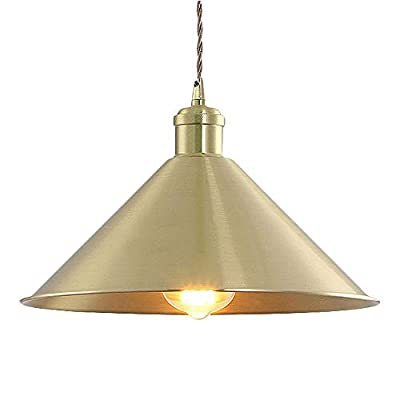 """SUSUO 11.81""""W Pure Golded Contemporary Ceiling Pendant Lighting with Conical Shade in Warm Brass,Farmhouse Chandelier Gold Pendant"""
