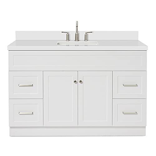 """ARIEL Single Sink Bathroom Vanity Cabinet in White with Pure White Quartz Counter-top 