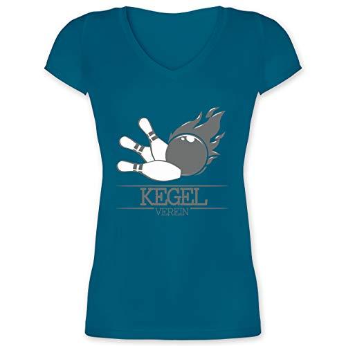 Bowling & Kegeln - Kegel Verein Kugel Flamme - S - Türkis - Sport - XO1525 - Damen T-Shirt mit V-Ausschnitt