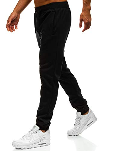 BOLF Herren Jogginghose Sporthose Trainingshose Jogger Sweathose Fitnesshose Jogpants Fußballhose Sweatpants Beinabschluss Pants Baumwolle Slim Fit J.Style XW01 Schwarz XL [6F6]