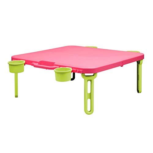 RLY Picknicktisch, Bett Klapptisch, Leuchttisch, Outdoor-Haushalt Tragbaren Tisch, Einfach (Color : Pink)