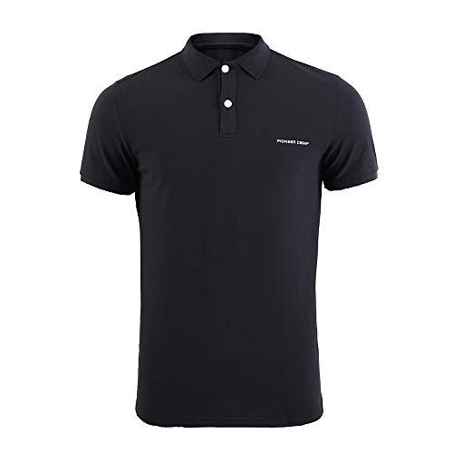Pioneer Camp Herren Golf Polo-Shirts Slim Fit Kurzarm Baumwolle Polo T-Shirt (schwarz, L)