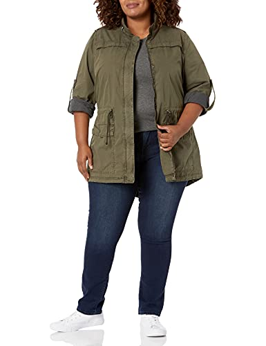 Levi's Women's Plus Size Legacy Cotton Lightweight Fishtail Anorak Jacket, Army Green, 2X