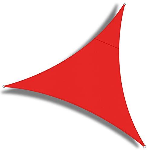 OKAWADACH Sonnensegel, Polyester Sonnensegel Sonnenschutz Garten Balkon und Terrasse wetterbeständig mit UV Schutz Windschutz für Garten Terrasse Camping (Dreieck 2 x 2 x 2m Rot)