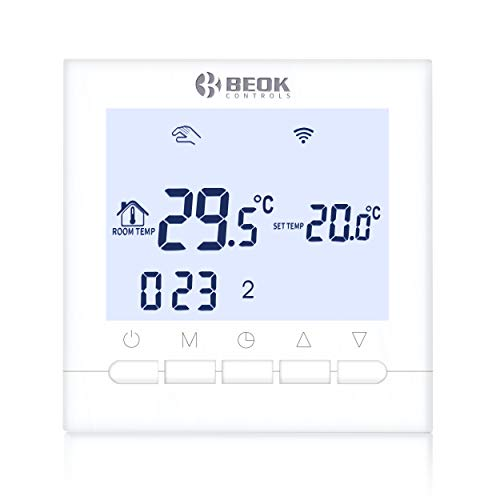 Beok Termostato WiFi para caldera de gas Termostato de ambiente digital BOT-313WIFI controlado por APP, pantalla LCD AC220V 3A, Alexa y Google Home (White)