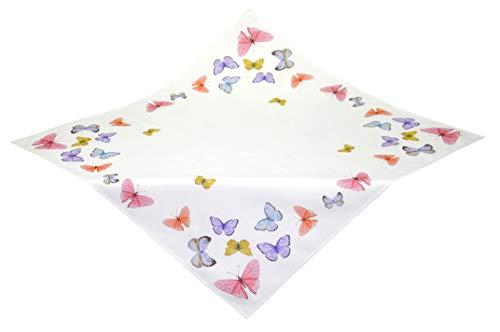 Kamaca Serie Butterflies in The Sky hochwertiges Druck-Motiv mit wundervollen Schmetterlingen - EIN Schmuckstück auf jedem Tisch in Frühling Sommer (Tischdecke 85x85 cm)